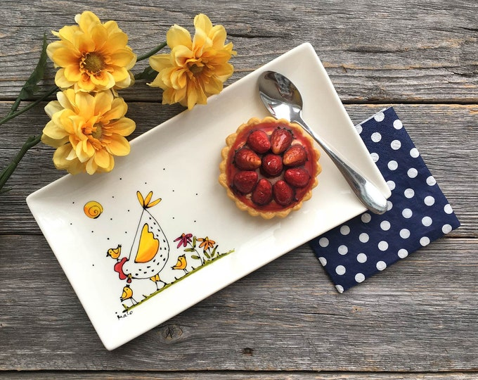 Porcelain rectangle Plate, Hen and chicks, flowers, sun,  Serving Plate , cat lover gift, Hand painted