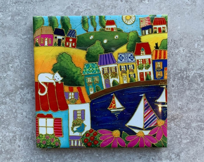 Art print Coaster, Colourful houses, sailboat, cat, Ceramic tile, square trivet, Art print coaster, colourful landscape