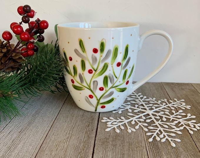 Featured listing image: MUG, Coffee, Tea, tall Mug Porcelain, Mistletoe, 16 oz, Unique Christmas gift, Hand painted by isamalo