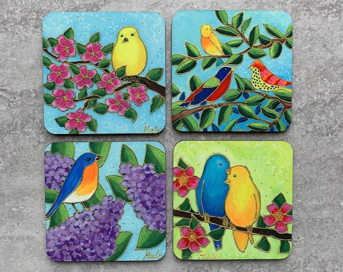 Set of Coasters bird art print