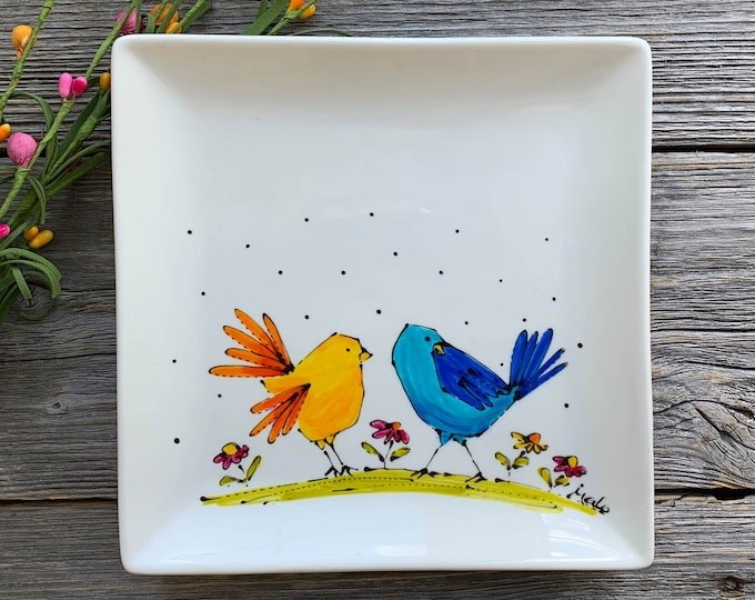 Bird plate, Square porcelain plate, blue bird, yellow bird, dessert plate, jewel tray, kitchen gift, unique gift, Hand painted