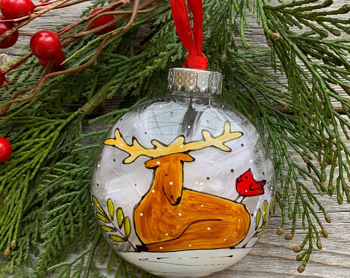Hand paint, Christmas ball ornement, Deer, red bird, Christmas ball, One of a kind, Christmas tree gift