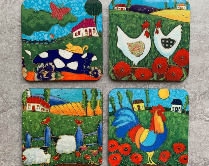 Coasters, 4 Set of Coasters, Countryside Landscape, rooster, sheep, hen, cow, gift coaster kitchen