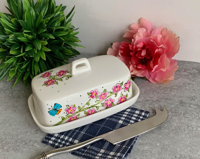 Butter dish porcelain with cover pink flower