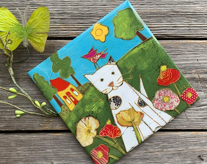 Ceramic tile Coaster, CAT, White Cat, red poppy, Landscape, pink bird, house, art print tile, cat lover gift