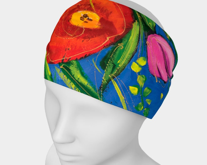 Headband flower,  scarf face warmer, red flowers, pink tulip, blue background, for danse, yoga or sport