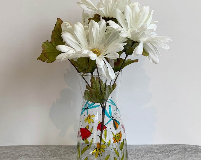 Glass flower vase hand paint colourful flower