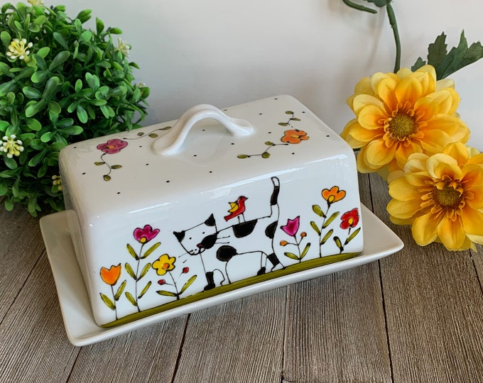 Butter dish Cat, ceramic with lid, Personalized, hand painted, cat lover gift, 1 pound butter