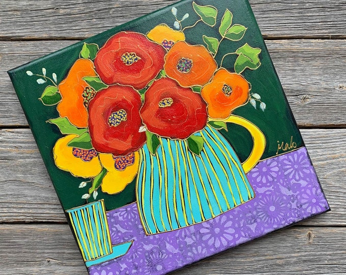 Original acrylic painting on canvas red orange yellow flower vase purple