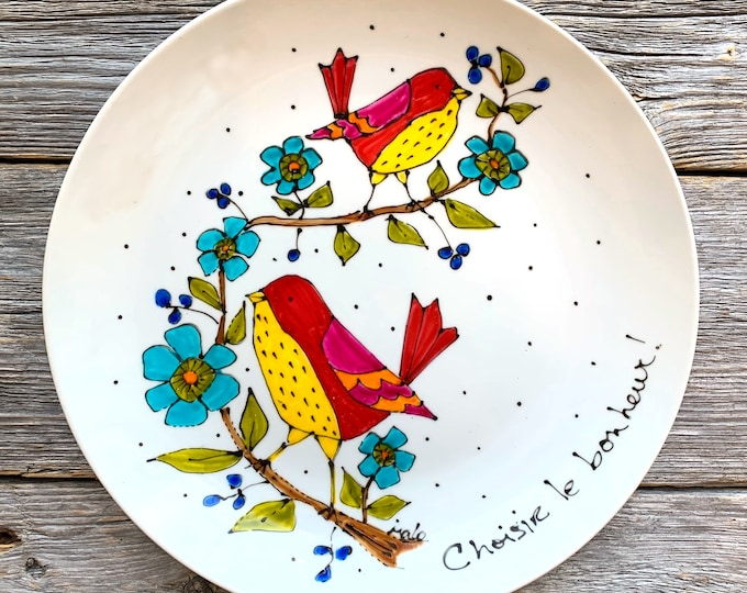 Serving plate, BIRDs, flower, unique gift, personalize, Hand painted by isamalo