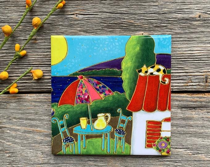 "Ceramic tile, Coaster, houses, table with parasol, lake, cat, flower, 4"" x 4"", decoration, square trivet, Art print"