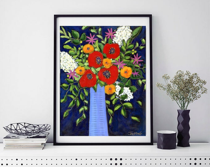 Art print, blue flowers vase, red, orange, pink and white flower, dark blue background, Wall art, home decoration, wall Art decoration