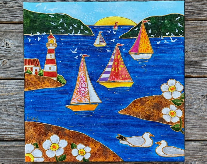 Original acrylic painting, colourful landscape, sailboat, lighthouse, sea, birds, white flowers, sun, hand paint by artist Isabelle Malo
