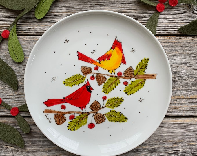 Serving plate, 2 Cardinal Bird, branch, unique gift, personalize, Hand painted