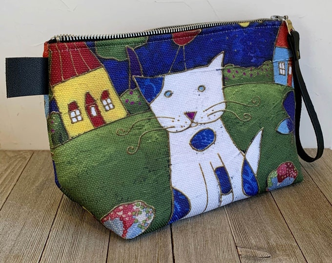 Cat pouch, Cosmetic bag, cosmetic lover case gift, Cat lover gift, pencil case