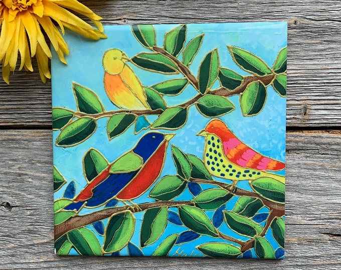 "Ceramic tile,  3 colourful birds on a tree, 6"" x 6"", bird lover gift, square trivet, Art print by Isabelle Malo"