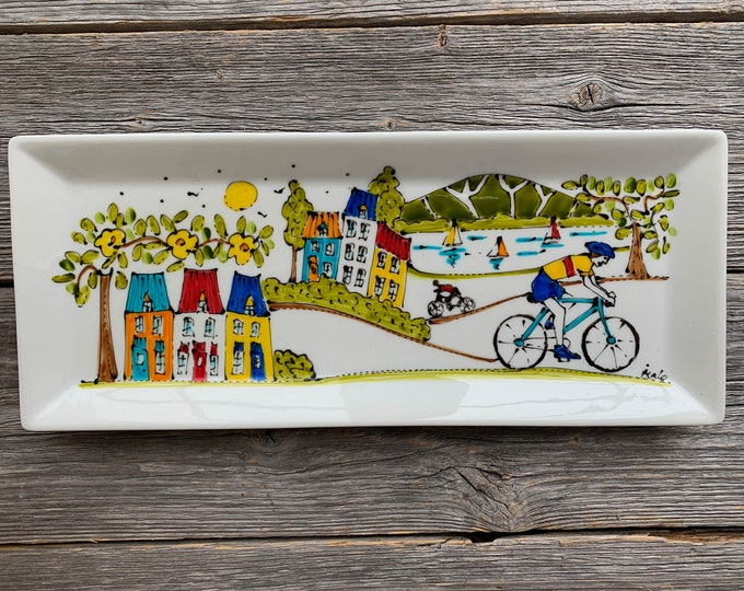 Decoration or serving Plate Porcelain, Bicycle ride in the country, lake, sailboat, colourful houses, mountain, Hand painted