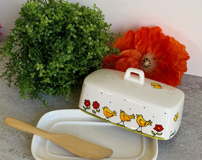 Small butter dish porcelain chick red flower