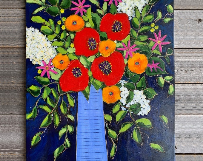 Original acrylic painting on canvas, flowers vase with red, orange and white, pink  flowers, blue background, home decor
