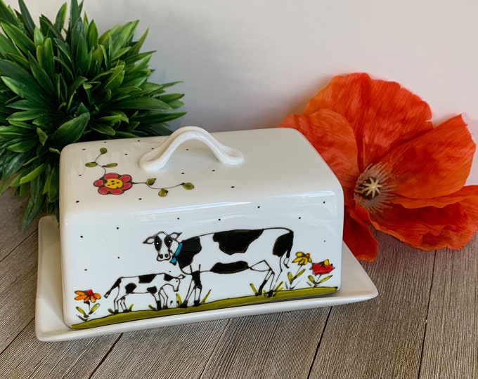 White stoneware Cow Butter dish with lid, Farm, bird, flower, Cow lover gift, hand painted, 1 pound of butter, Cow kitchen gift