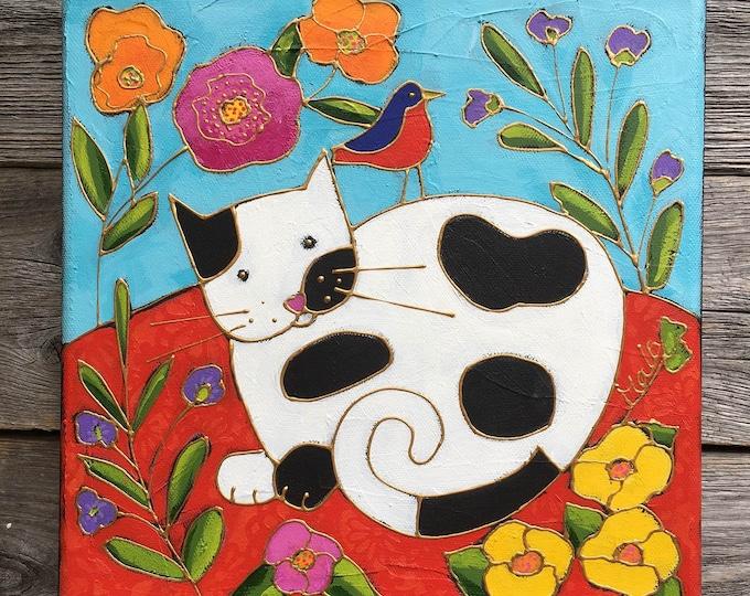 Original acrylic painting on canvas black white cat