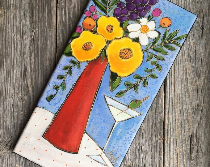 Featured listing image: Original acrylic painting on canvas, Yellow flowers, red vase with colourful flowers and blue background, Glass of Martini