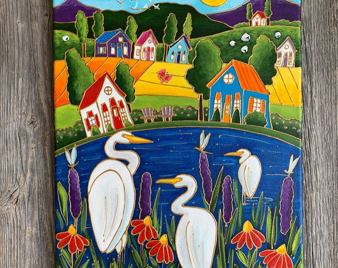 Original acrylic painting, colourful landscape, white egret, heron bird, dragonfly, hand paint by artist Isabelle Malo