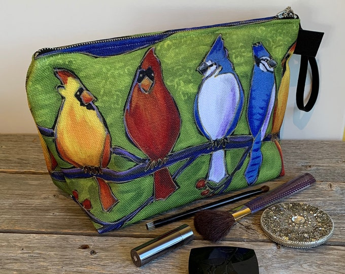 Large Cosmetic bag, 5 birds, blue jay, red cardinal bird, cosmetic pouch, cosmetic lover case gift, bird lover gift