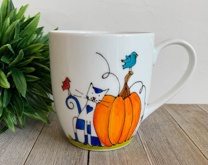 Featured listing image: MUG, Coffee, Tea, tall Mug Porcelain, Pumpkin and Cat, 16 oz, Unique gift, Hand painted by isamalo