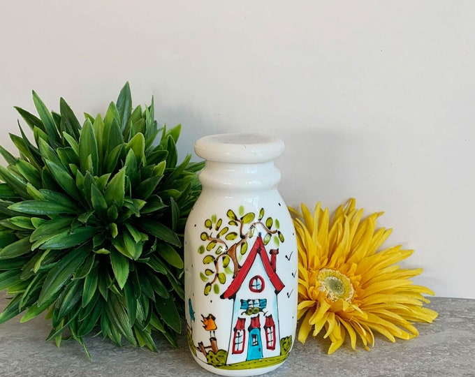 Small creamer vintage-style white stoneware house red roof tree bird hand painted