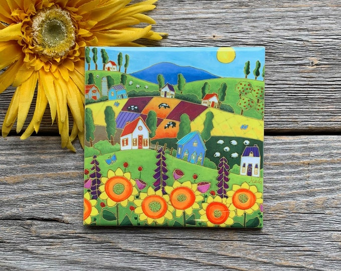 Ceramic tile coaster colourful landscape sunflower cow sheep house art print ceramic