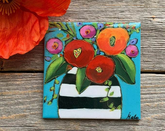 ceramic tile coaster flowers vase