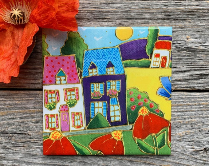 Ceramic tile or square trivet colourful house red flower