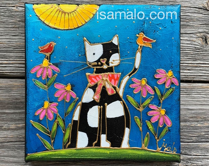 Featured listing image: Original acrylic painting Cat, Black and white cat, birds, pink flowers, by artist Isabelle Malo