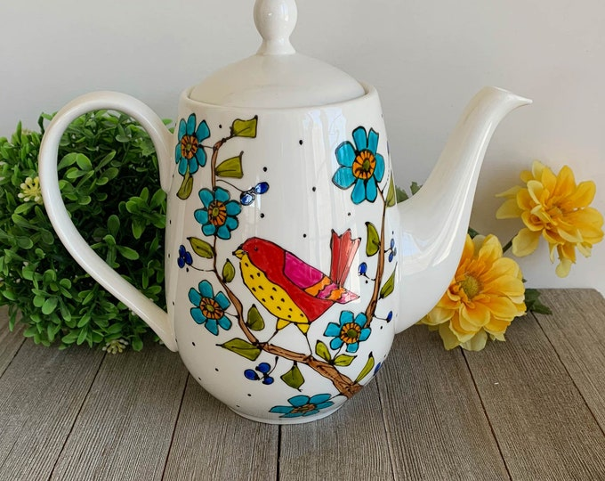 Bird Porcelain Tea pot, tea lover gift, yellow and red bird, blue flower, hand painted,