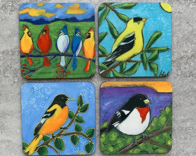 "BIrd Coasters, Set of Coasters 4"", goldfinch, Baltimore Oriole, pink brest cardinal, cardinal, blue jay, coaster table, Art print coaster"