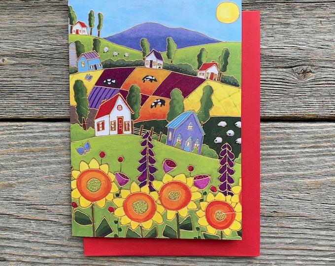 Greeting card sunflower landscape