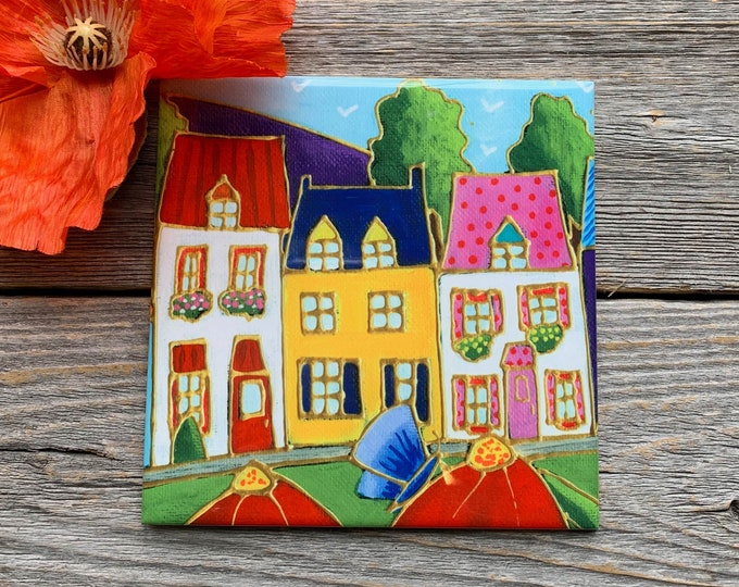 Ceramic tile or square trivet colourful house red flower