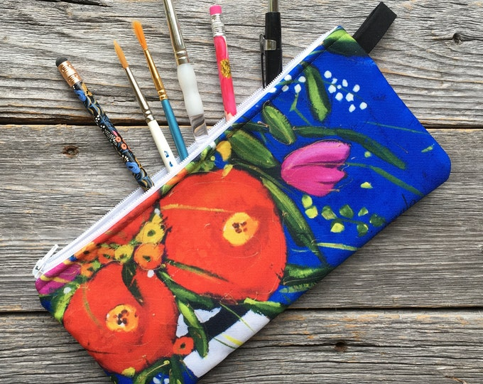 Pencil case, red flowers, blue background, Cosmetic bag - zipped makeup pouch cats - make up bag - storage bag - zipper bag