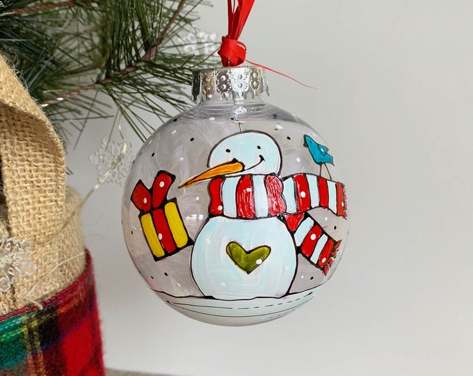 Christmas ball ornement, Snowman, scarf, beanie, One of a kind, Hand paint Christmas ball, Christmas tree gift