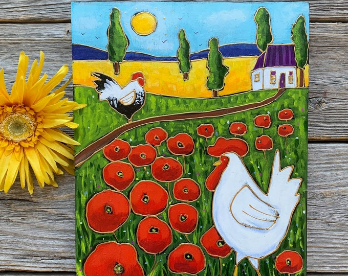 Original acrylic painting on wood frame, country landscape, Hen, Poppy fields, house, hand paint
