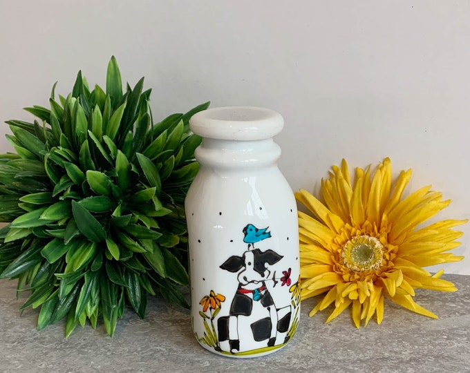 Creamer Vintage-style white stoneware black and white cow bird flower dragonfly hand painted
