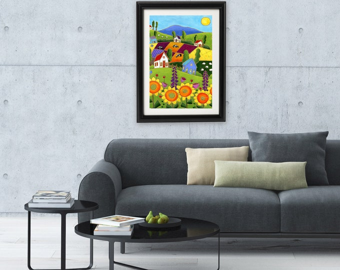 Art print, 11 x 17, Colourful houses, sunflower, cow, sheep, Wall art, home decoration, wall Art decoration, art by Isabelle Malo