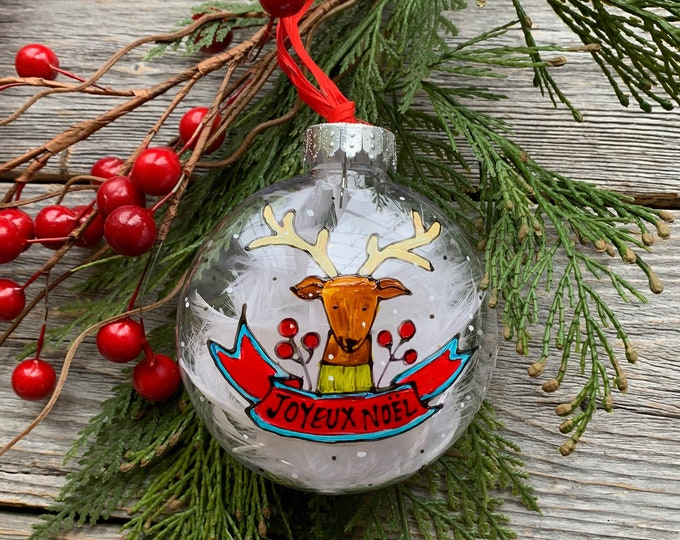 Hand paint, Christmas ball ornement, Deer, red ribbon, red berries, green leaf, Christmas ball, One of a kind, Christmas tree gift