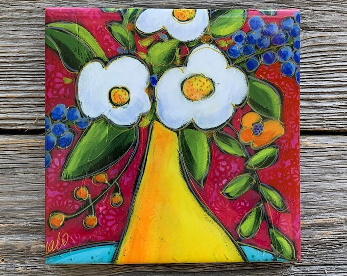 Ceramic tile, Coaster, Flower vase, pink, yellow, white flowers, Trivet flowers
