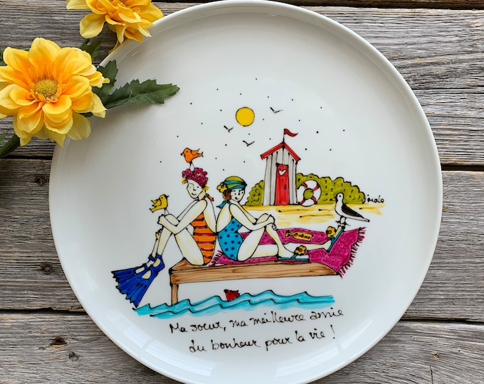Serving plate, two girl on a beach, Unique gift, beach lover gift, Hand painted