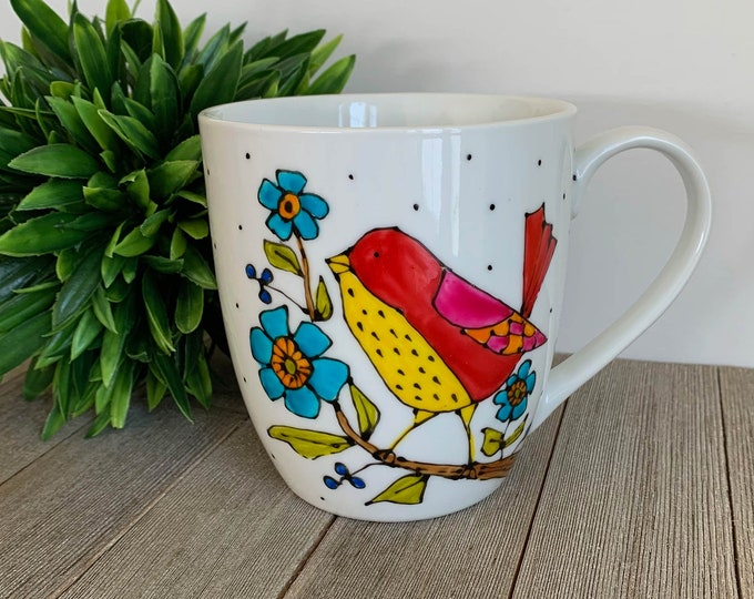 MUG, Coffee, Tea, tall Mug Porcelain, bird, yellow, red, pink, blue flowers, Unique gift, Hand painted