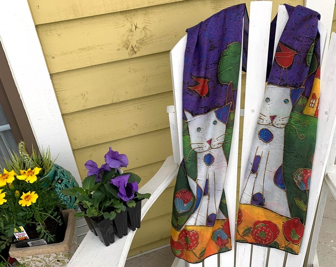 Silk scarf colourful blue white green cat for women