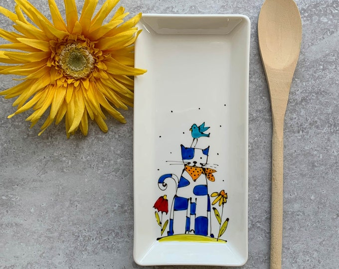 spoon holdes cat flower bird small tray hand paint