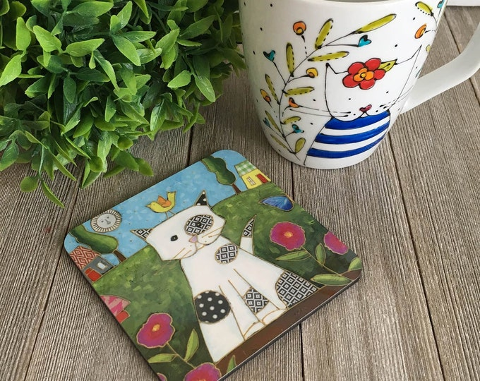 Featured listing image: Cat Coasters, Set of 4 Coasters, Cats,  coaster table, Home decor, kitchen gift